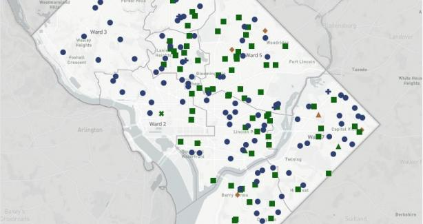 Explore the map of school year 2021-22 DCPS and PCS school facility locations